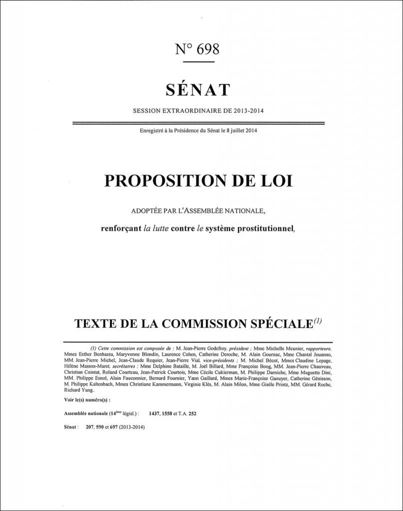 Prostitution - texte Senat