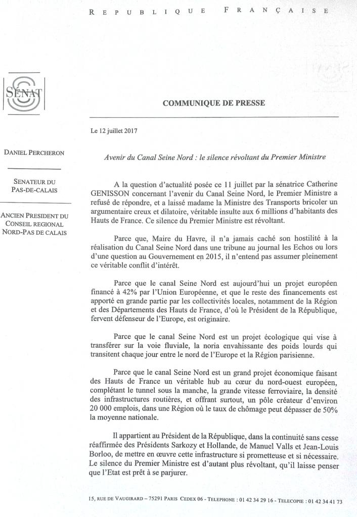 Communique D.PERCHERON - 12-07-17